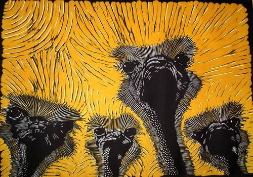 Four Ostriches.  Linoprints birds