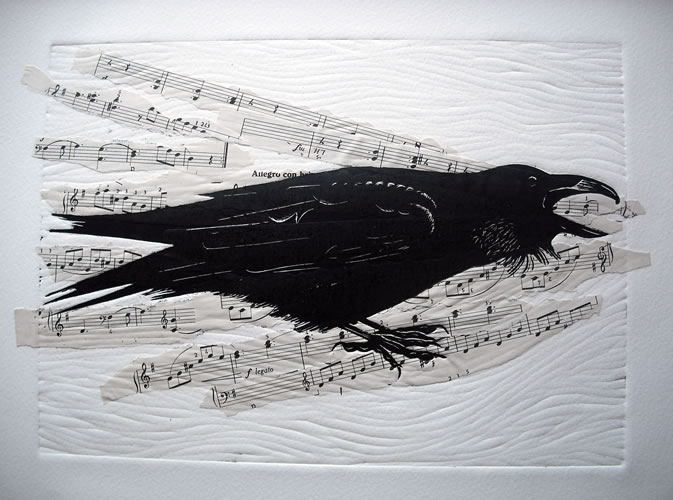 The Arrogant Raven.  Linoprints.birds