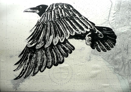 As the Crow Flies.  Linoprints.birds
