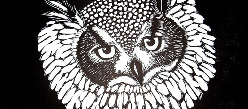 Eagle Owl.  Linoprints.birds