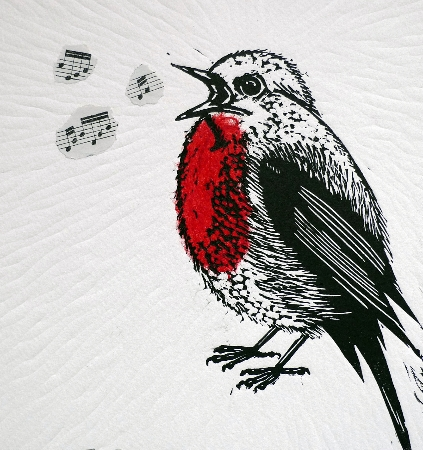 Fat Robin Sings.  Linoprints.birds