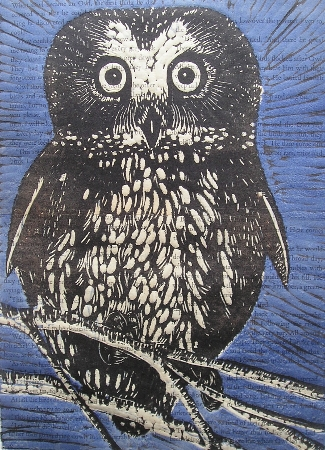 The Importance of being Wise.  Linoprints.birds