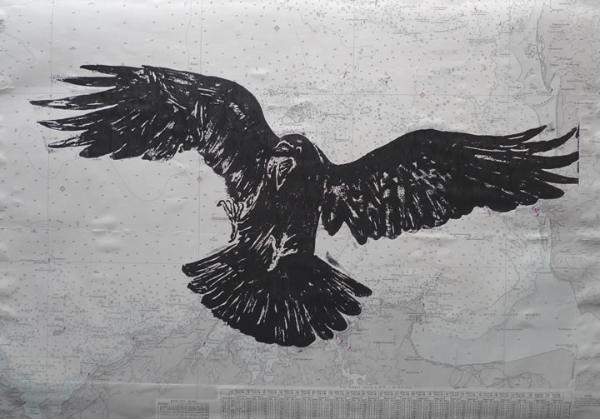 Raven Attack. Linoprints birds