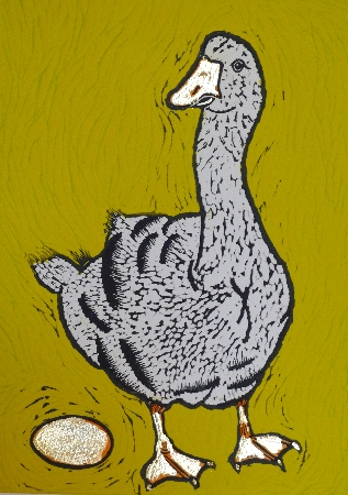 The Goose.  Linoprints.birds