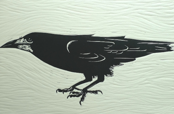 The Windy Rook.  Linoprints birds