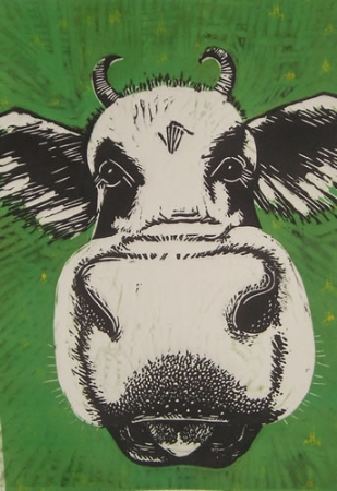 Green Grass Cow. Linoprint