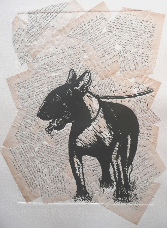 Donkey Dog.  Linoprint