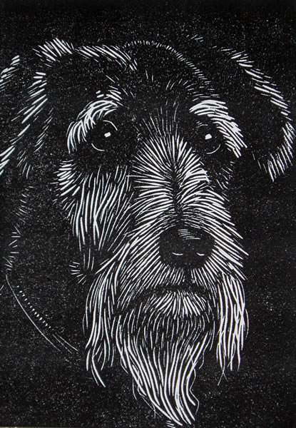 Life in the Old Dog. Linoprint
