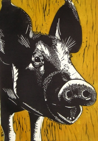 Straw Yellow Pig. Linoprint