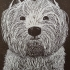 The Happy Westie.  Linoprint