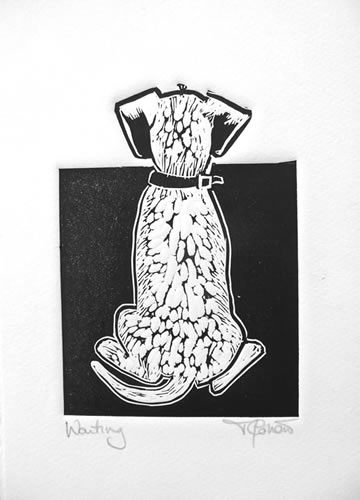 Waiting.  Linoprint