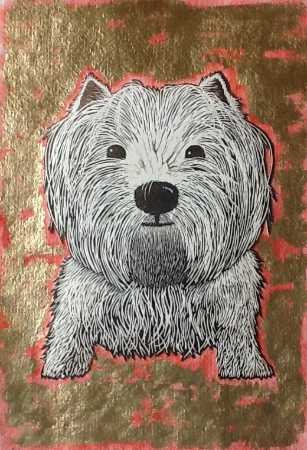 The Happy Westie (gold-and-red)