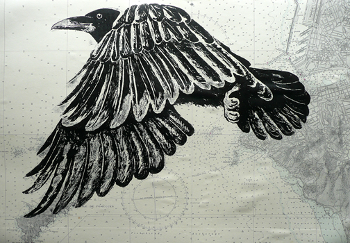 As the Crow Files  Mary Collett Linoprints