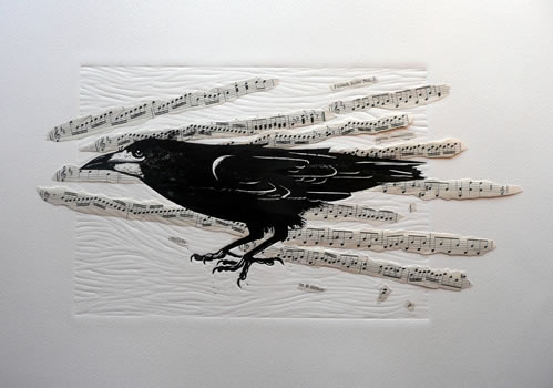 The Attentive Rook  Mary Collett Linoprints