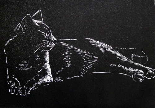 Black Cat  Mary Collett Linoprints
