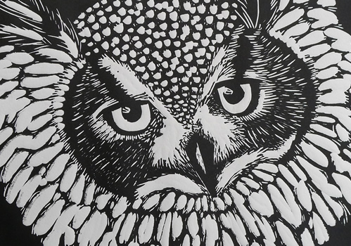 Eagle Owl  Mary Collett Linoprints