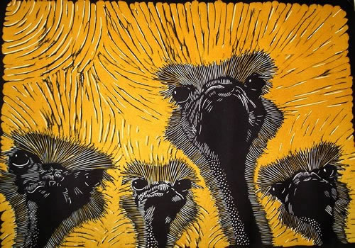 Four Ostriches Mary Collett Linoprints