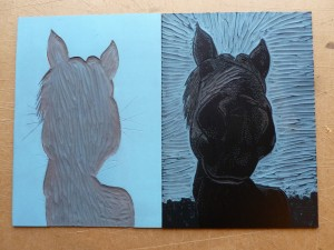 The two lino plates used for printing my Sky Blue Horse